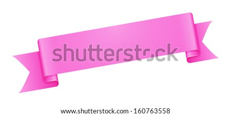 The pink blank ribbon ready for your text / The blank ribbon / The ribbon - stock vector