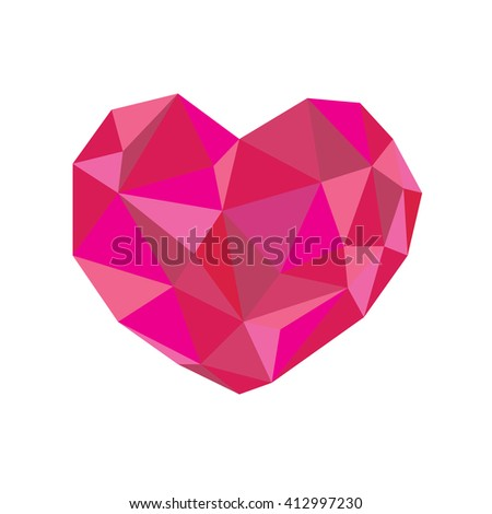 The Pink Tone Crystal Heart Vector Illustration For Valentines Day Card Wedding Poster