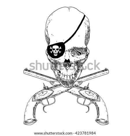The Pirate Skull Jolly Roger. The vector image of piracy skull. Piracy flag with skull, eye patch and crossed pistols. Vector illustration. - stock vector