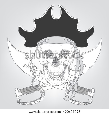 The Pirate Skull Jolly Roger. The vector image of piracy skull. Piracy flag with skull, hat and crossed sabers. Vector illustration. - stock vector
