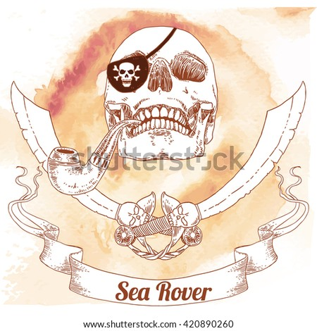 The Pirate Skull Jolly Roger. The vector image of piracy skull. Piracy flag with skull, hat, eye patch, pipe and crossed sabers. Vector illustration. - stock vector