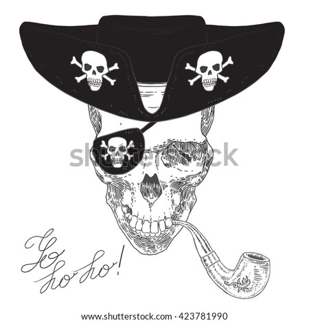 The Pirate Skull Jolly Roger. The vector image of piracy skull. Piracy flag with skull, hat, eye patch and pipe. Vector illustration. - stock vector