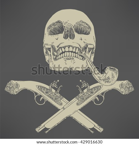 The Pirate Skull Jolly Roger. The vector image of piracy skull. Piracy flag with skull, hat, eye patch and crossed pistols. Vector illustration. - stock vector