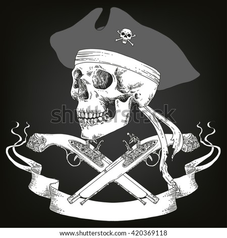 The Pirate Skull Jolly Roger. The vector image of piracy skull. Piracy flag with skull,  ribbon, hat and crossed pistols. Vector illustration. - stock vector