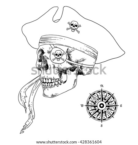 The Pirate Skull Jolly Roger. The vector image of piracy skull. Piracy flag with skull,  ribbon, hat, eye patch and crossed pistols or sabers. Vector illustration. - stock vector