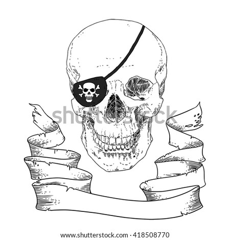 The Pirate Skull Jolly Roger. The vector image of piracy skull. Piracy flag with skull,  ribbon and eye patch. Vector illustration. - stock vector
