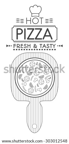 The pizza logo, label for packing pizza.Badges of pizza on a white background.Template logo for your pizza. - stock vector