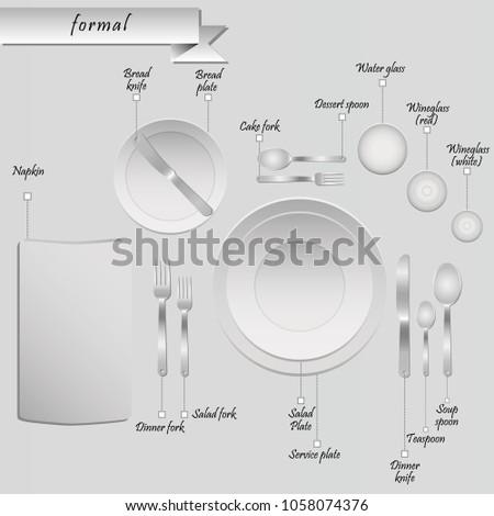 Plan Cutlery On Table On Grey Stock Vector (2018) 1058074376 ...