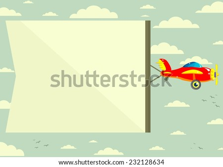 The plane flies with long banners for your text on a background of sky - stock vector