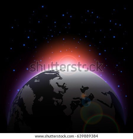 The planet and sunlight on space . Vector .