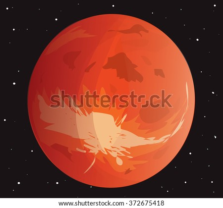The planet Mars in the background of the starry sky. Red sands, mountains and craters. Vector. Stock illustration - stock vector