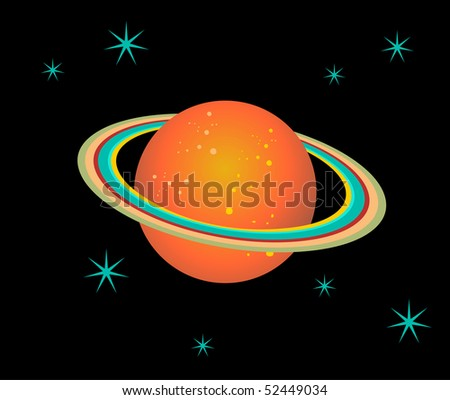 The planet Saturn surrounded by stars over black background. Vector file available - stock vector