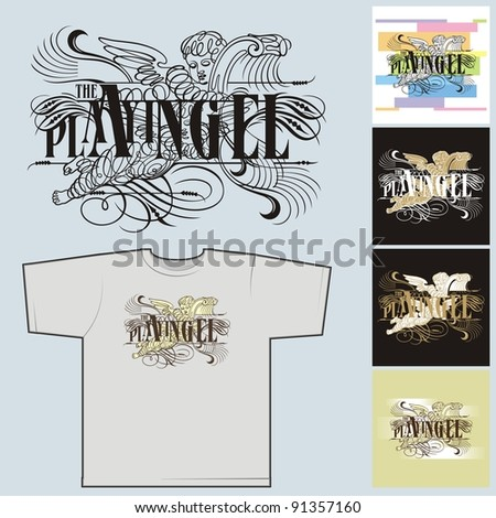The playing angel # 01. The image for the press on T-shirts. - stock vector