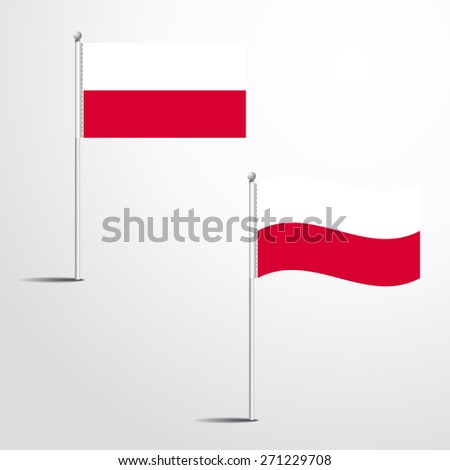 The Poland flag normal and waving flag set | abstract flag vector eps 10 - stock vector