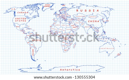 The political map of the world painted on a piece of school notebook. National boundaries drawn with blue pen, country names are written with red one - stock vector
