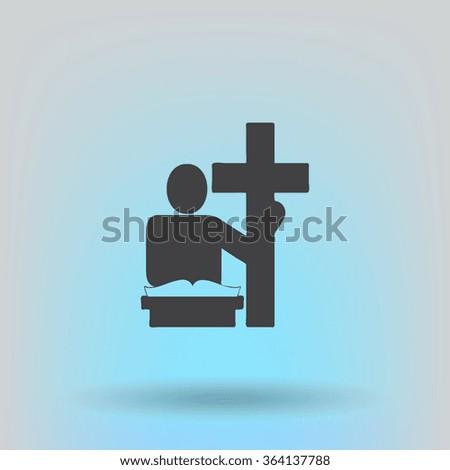 The preacher in the church icon. Flat design style - stock vector