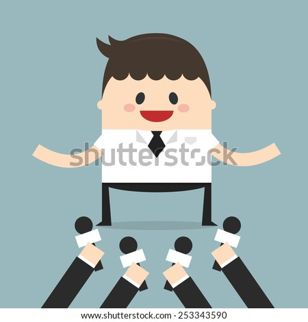 The press interview with a businessman. Vector illustration. Flat design. businessman concept. - stock vector