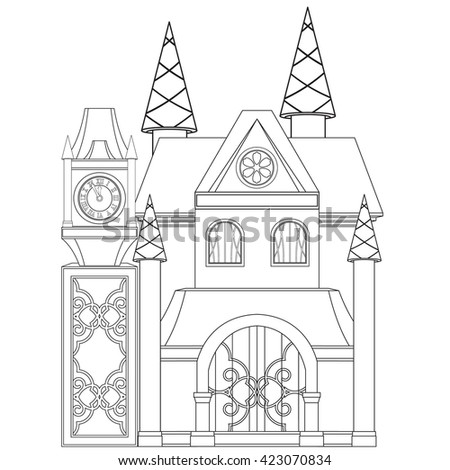 Castle outline stock images royalty free images vectors for Princess and castle coloring pages