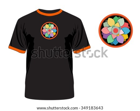 "The print ""Abstract flower inside"". Vector. Can be used on different clothes."