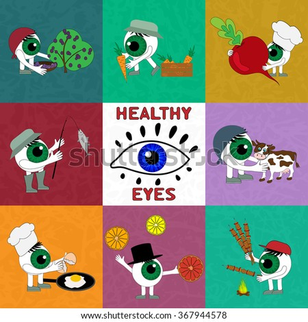 The products are useful for eye health. Set elements on the theme of Healthy eyes. The importance of proper nutrition for good vision - vector, EPS10