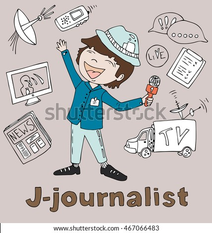the profession journalist in alphabetical order cartoon hand drawn outline for coloring adult isolated on the background