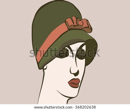 the profile of a woman's head with hat Retro
