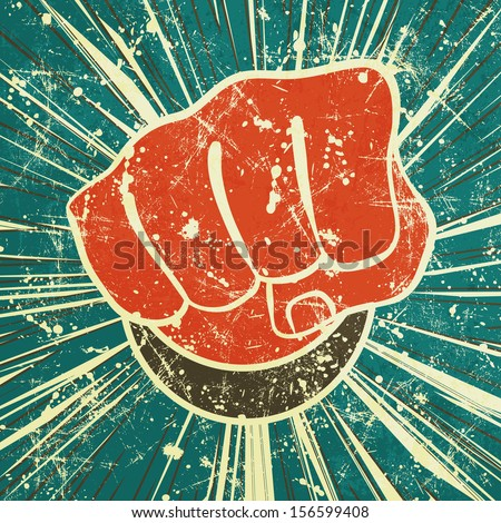 The Punch Fist Of Red Color On A Vintage Background In