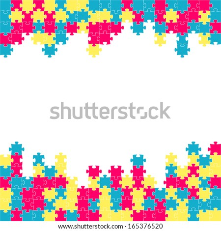 The puzzle border made out of blue, violet and yellow puzzle pieces / The puzzle border / The  jigsaw border - stock vector