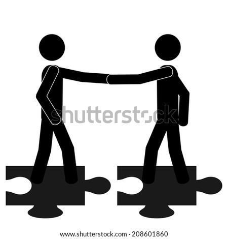 The puzzle handshake. It is a stick figure vector. EPS10  - stock vector