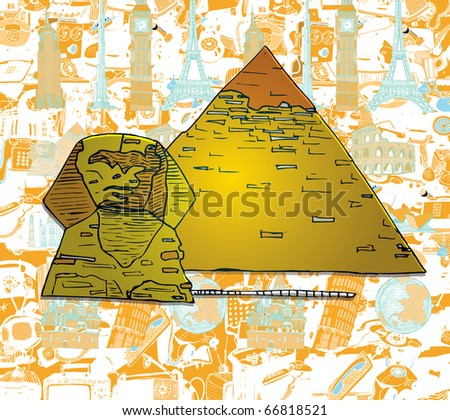 The Pyramid on World Most Famous Monuments Background - stock vector
