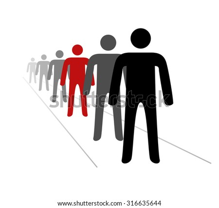 The queue of people - stock vector