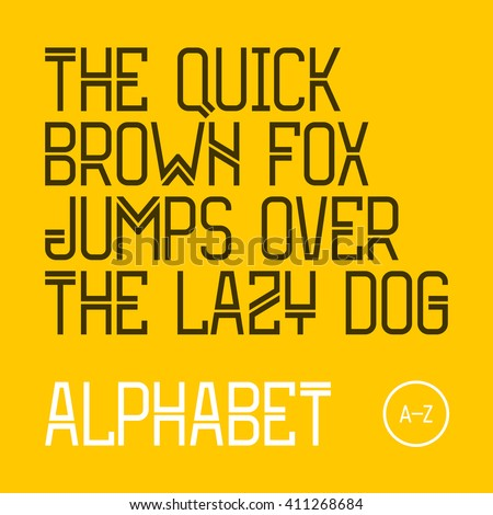 The quick brown fox jumps over the lazy dog.  Modern font, 26 latin alphabet letters. Vector. - stock vector