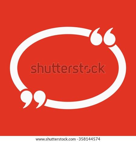 The Quotation Mark Speech Bubble icon. Quotes, citation, opinion symbol. Flat Vector illustration - stock vector