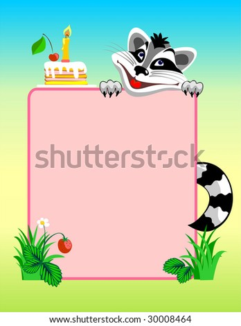 The raccoon congratulates happy birthday