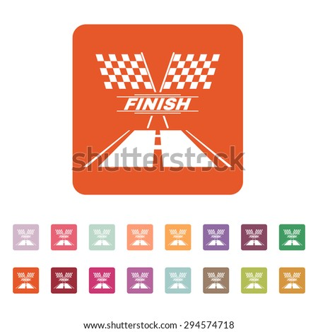 The race flag icon. Finish symbol. Flat Vector illustration. Button Set - stock vector