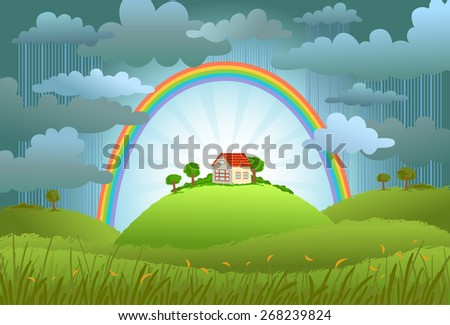 The rainbow protects the small house from a rain and bad weather. conceptual illustration. - stock vector