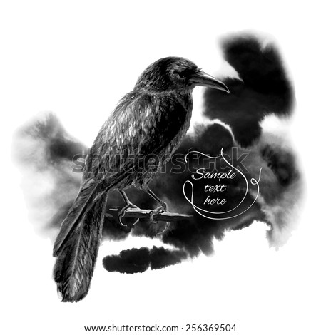 The raven sitting on a branch on a background of black ink stains. Vector illustration - stock vector