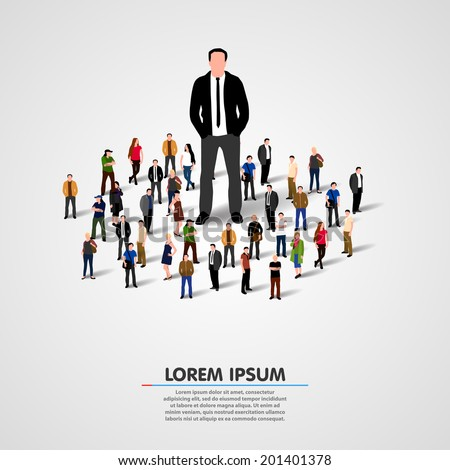 The Real Leader - Business Man in crowd - stock vector