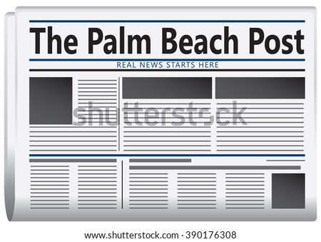 The real news starts here. The newspaper is published in Florida - The Palm Beach Post. - stock vector