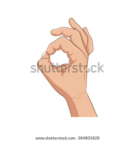 The realistic hand showing gesture ok on a white background. - stock vector