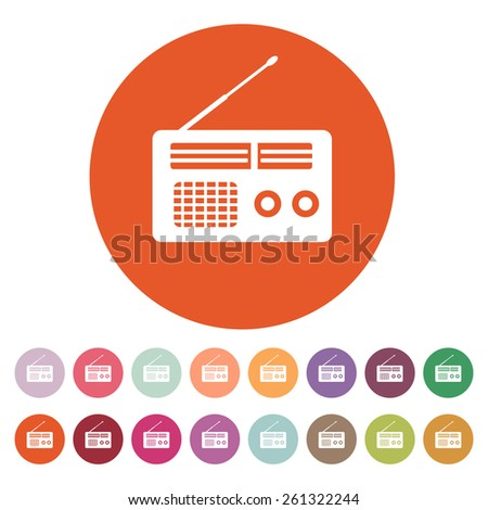 The receiver icon. Radio symbol. Flat Vector illustration. Button Set - stock vector