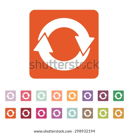 The recycling icon. Eco and ecological, cycle symbol. Flat Vector illustration. Button Set - stock vector