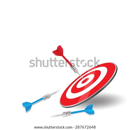 The red arrow achieved hit center Target of dart board with blue darts miss and failure  vector illustration - stock vector