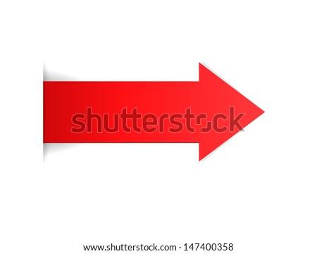 The red arrow with hidden edge effect / The red arrow / The arrow - stock vector