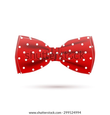 the red bow tie on a white background, excellent vector illustration, EPS 10 - stock vector