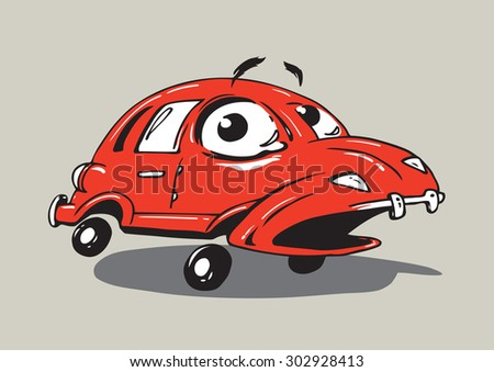 The red car opened her mouth startled looks on the incident