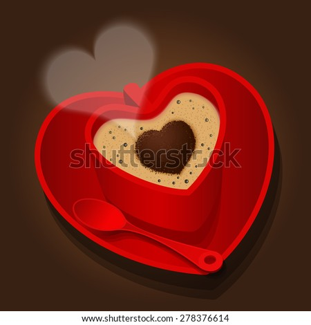 the red cup in heart shape of cappuccino - stock vector