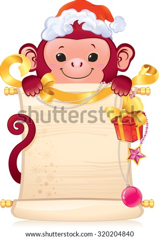 The Red Fire Monkey is a symbol of the new 2016 year. - stock vector