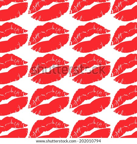 The red kiss mark vector pattern on with background. - stock vector