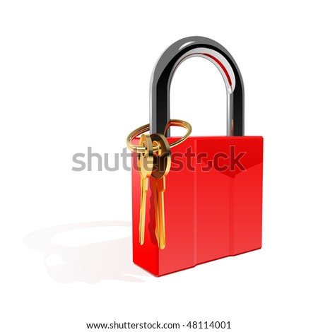 the red padlock with gold keys
